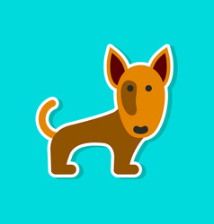 paper sticker on stylish background pet dog vector image