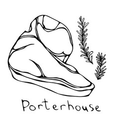 Porterhouse steak cut isolated on white vector
