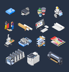 Printing isometric icons collection vector
