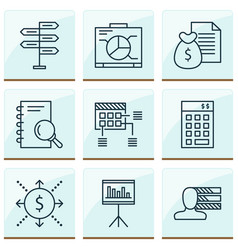 Project icons set with cash flow statistics and vector