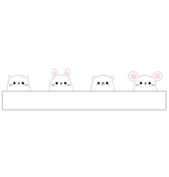 rabbit hare cat kitten kitty mouse bear face vector image