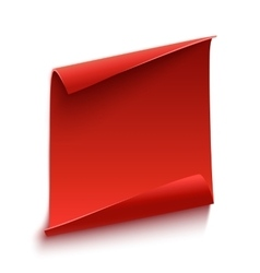 Red curved paper scroll vector