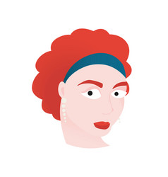 Redhead woman with blue bandana vector