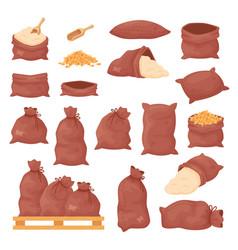 Sacks with wheat grains or flour burlap bags on vector
