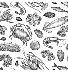 Seamless pattern with seafood and fish vector