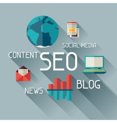 Seo concept in flat design style vector image