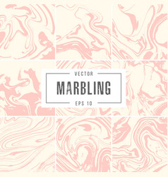 Set abstract marble backgrounds ink texture vector