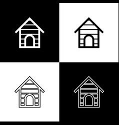 set dog house icons isolated on black and white vector image
