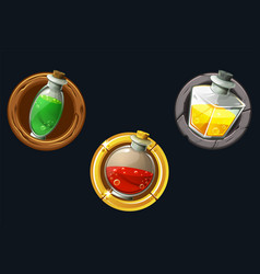 Set icons potions in texture frames vector