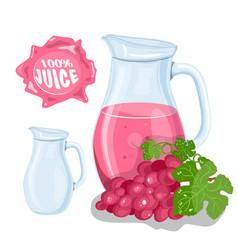 set of natural fresh grapes jar in bank and vector image