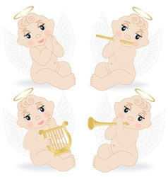 set of small angels vector image
