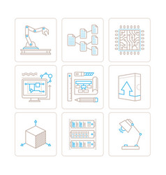 Set of technology icons and concepts in mono thin vector