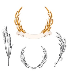 Set of wheat ears with banner and ribbon vector image