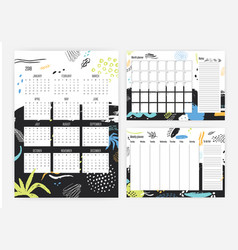 Set of year 2018 calendar month and weekly vector