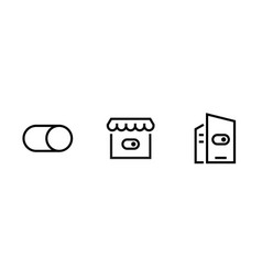 set three security icons editable line vector image