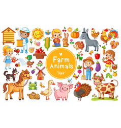 set with farm animals vector image