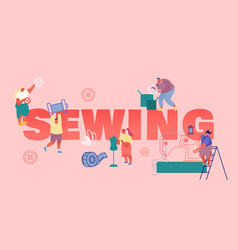 Sewing creative atelier and fashion design concept vector