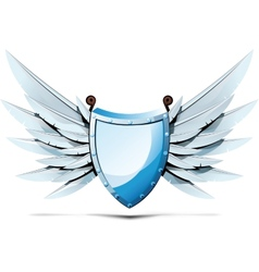 Shield with wings swords vector