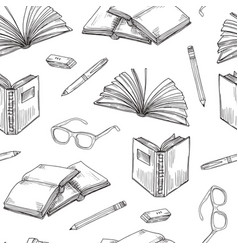 Sketch books seamless pattern ebooks reading and vector