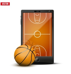 Smartphone with basketball ball and field on the vector image