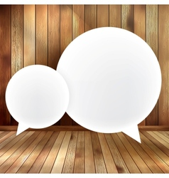 Speech bubble on wooden EPS 10 vector image