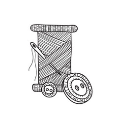 spool of thread with button and vector image