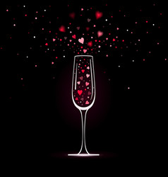 Stylized champagne glass with heart confetti vector