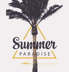 summer banner with palm tree and ship vector image