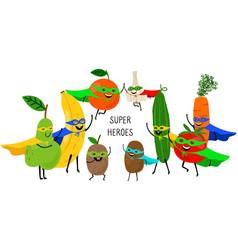 super vegetables fruits vector image