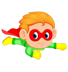 superhero boy child flying upwards vector image