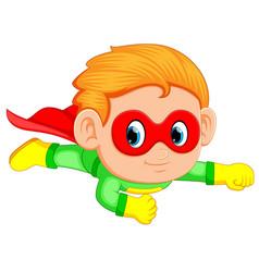 superhero boy child flying upwards vector image
