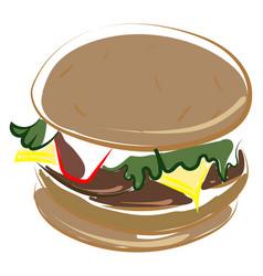 sweet hamburger on white background vector image