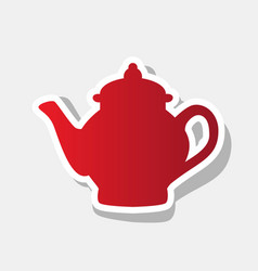 tea maker sign new year reddish icon with vector image