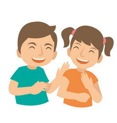 Two young kids laugh and happy vector