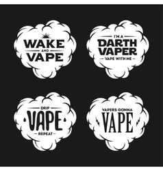 Vape related t-shirt vintage designs set Quotes vector