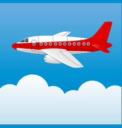 Varicolored plane on a background of blue sky and vector