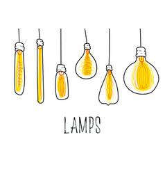 Vintage creative loft light bulb drawn banner vector