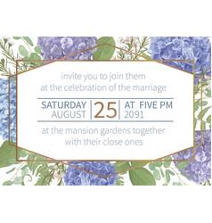 Wedding watercolor flower cardleaves blooming vector