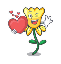 with heart daffodil flower mascot cartoon vector image