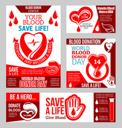world blood donor day banner with heart and drop vector image