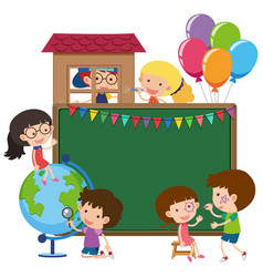 border template with kids and globe vector image