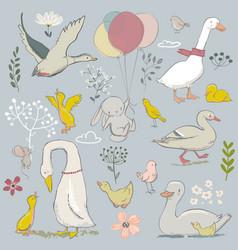 cute farm birds set vector image vector image