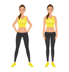cute smiling fit girl with hands on the hips vector image vector image