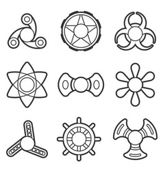 hand fidget spinner extra line icon set vector image vector image