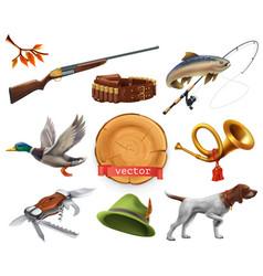 hunting set shotgun dog duck fishing horn hat vector image vector image