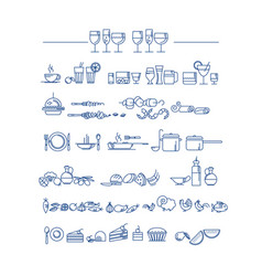 line style icon set food and dish picto vector image