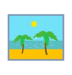 Palm tree on beach photo frame isolated vector image