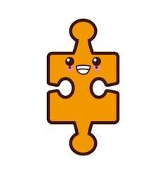 puzzle piece symbol cute kawaii cartoon vector image vector image