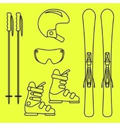 Ski gear line icon set vector image vector image