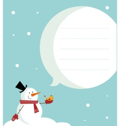 snow man card vector image vector image